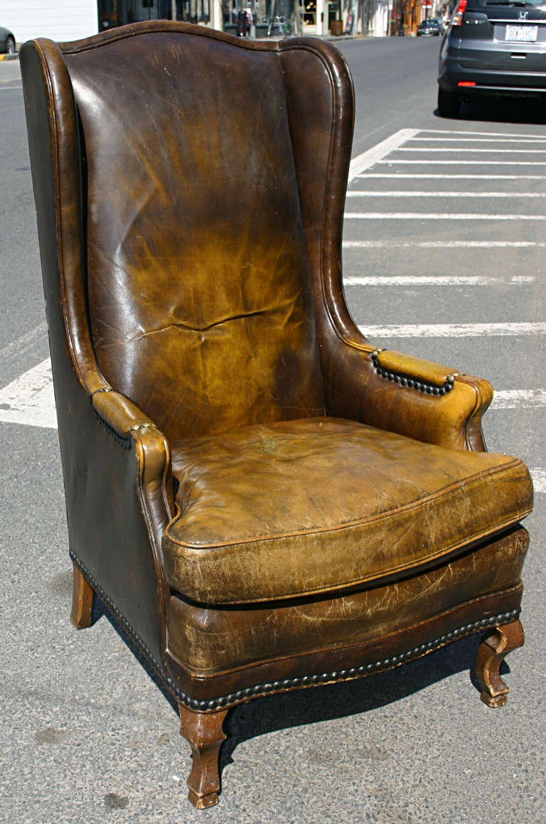 leather wingback chairs art deco chair high at 1stdibs a nicely distressed and with good patina wing in burnt caramel