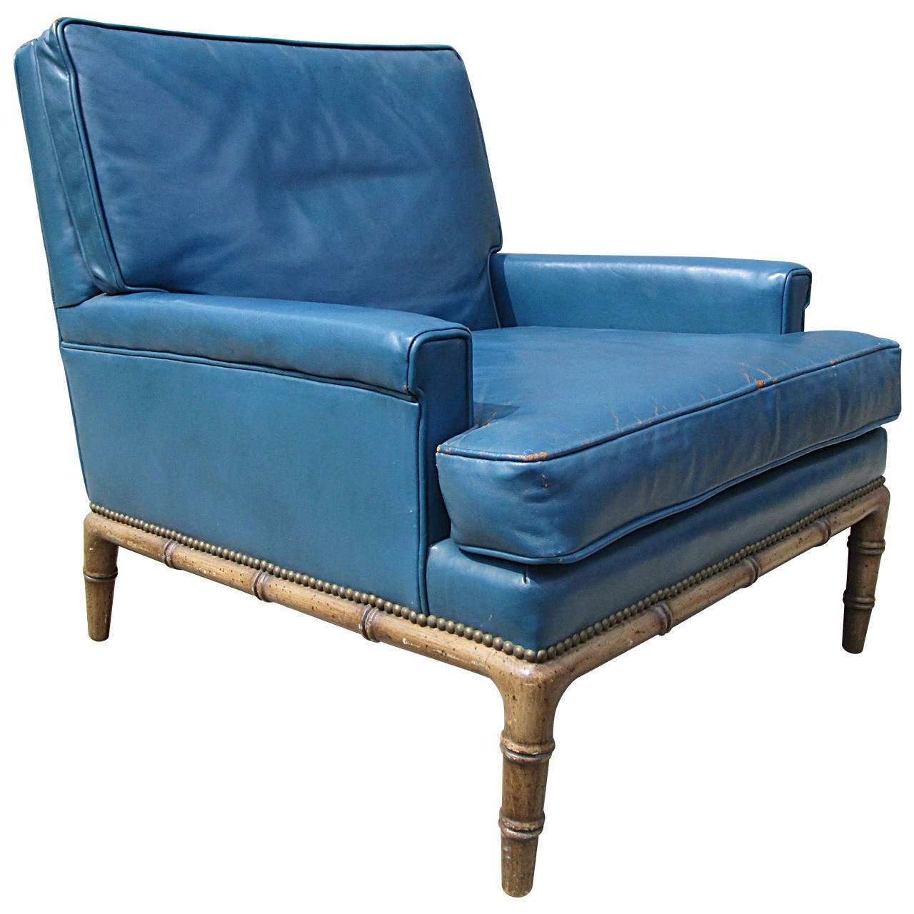 Blue Leather Club Chair Blue Leather Club Chair By Erwin Lambeth For Sale At 1stdibs
