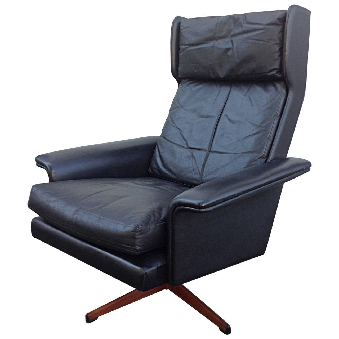 leather swivel chair reclining outdoor black wingback by komfort at 1stdibs