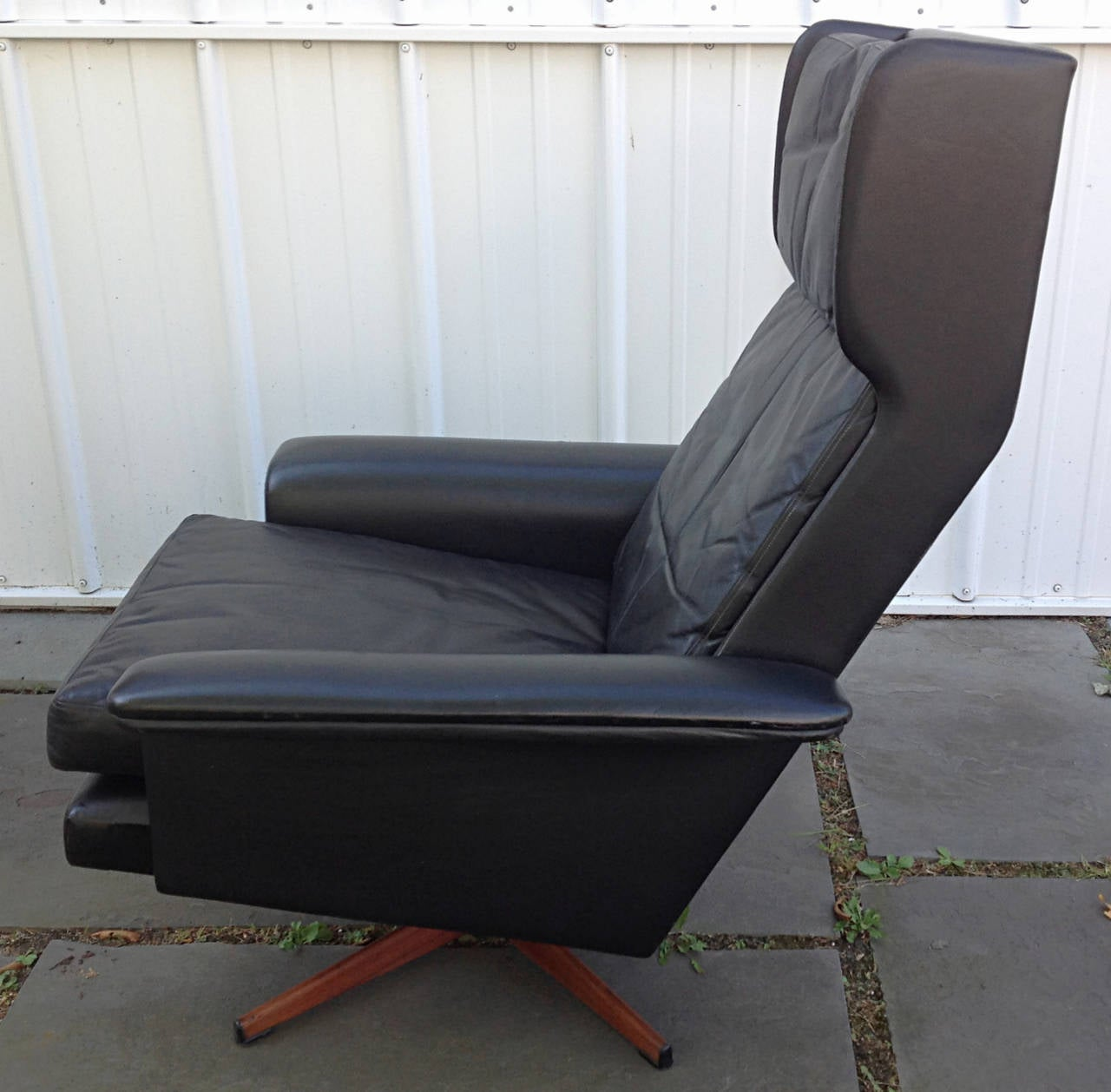 black leather wingback chair cushion covers for chairs swivel by komfort at 1stdibs