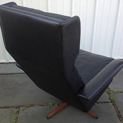 Black Leather Wingback Chair Dining Seat Covers Ebay Swivel By Komfort At 1stdibs