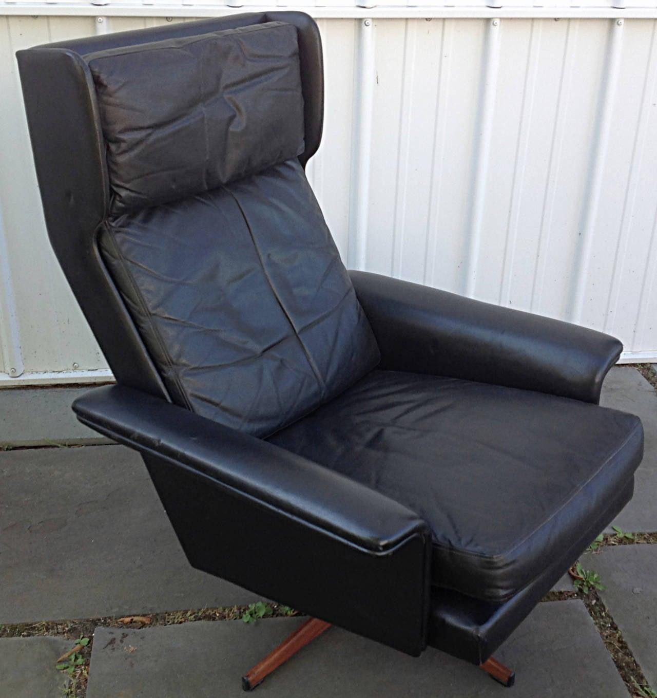 black leather wingback chair lightweight folding beach lounge swivel by komfort at 1stdibs