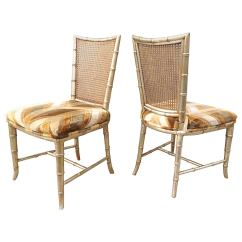 Bamboo Dining Chair Ikea Set Of Six Silvered Faux Caned Back Chairs