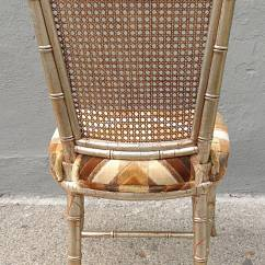Set Of Six Dining Chairs For Sale Seaside Casual Silvered Faux Bamboo Caned Back