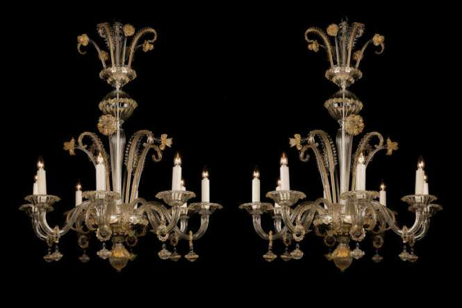 A Fine Pair Of Venetian Clear Glass And Gilt Decorated Eight Light Chandeliers Each