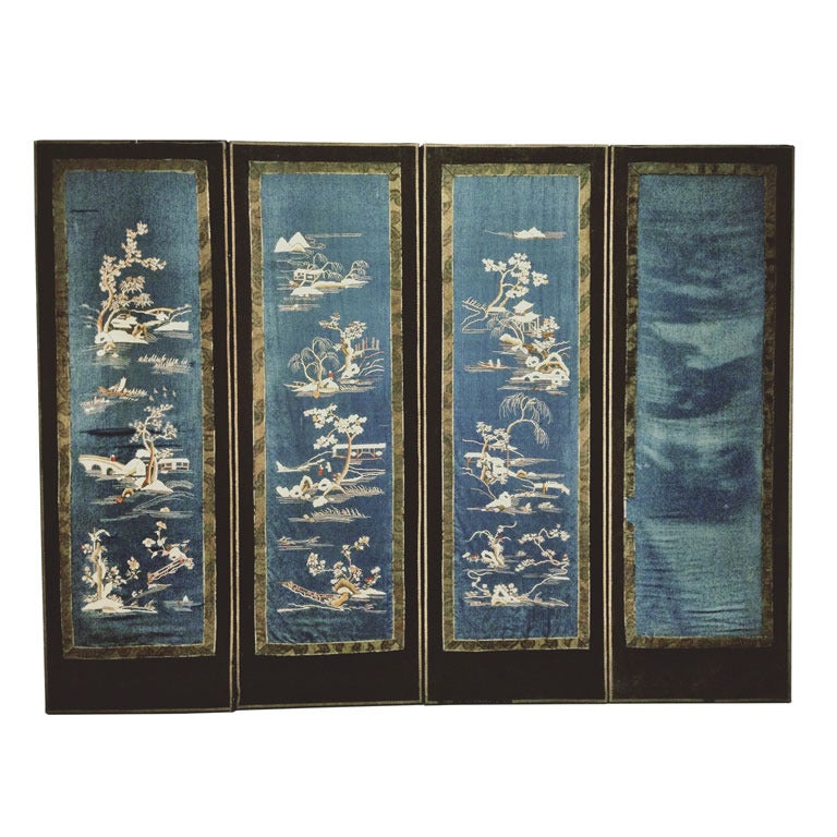 Blue Subtle Chinese Wall Screen Embroidered Silk Ca