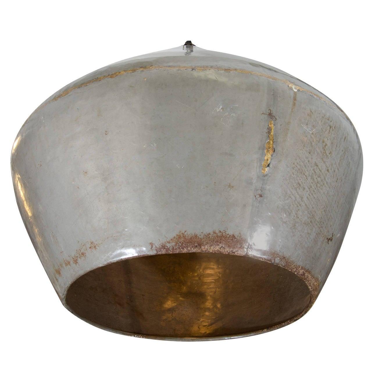 Large Distressed Enamel on Copper Drum Pendant Light at
