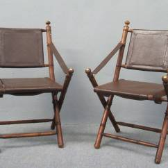 Nice Folding Chairs Dining Room Host And Hostess Pair Of Faux Bamboo Leather Hunting At 1stdibs