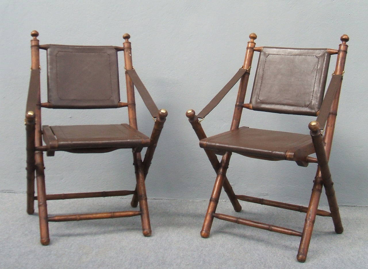 Nice Folding Chairs Nice Pair Of Faux Bamboo And Leather Hunting Chairs At 1stdibs