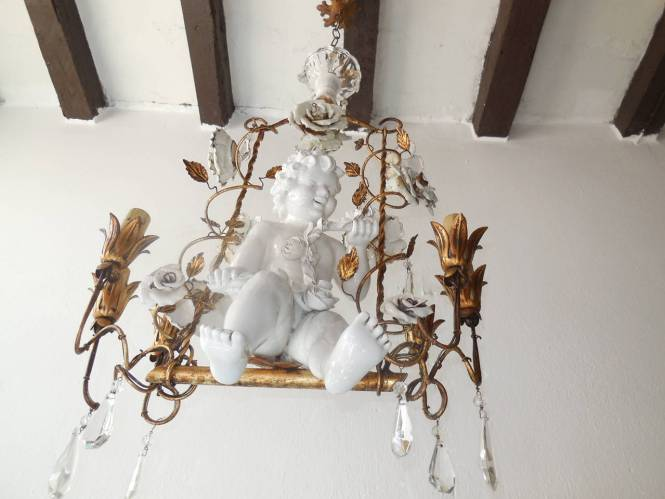 French Porcelain Roses And Tole With Huge Cherub Swinging Chandelier 3