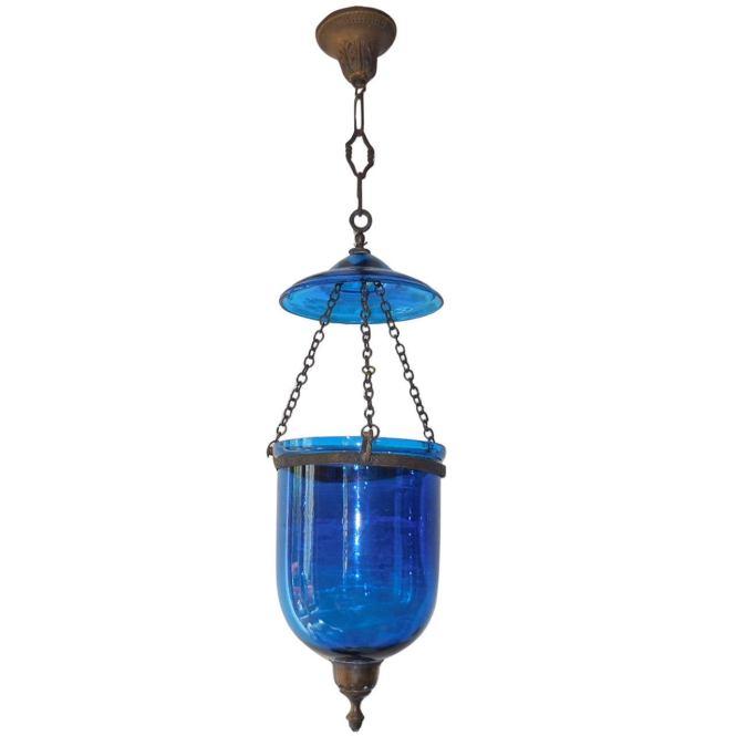 19th Century English Cobalt Blue Bell Jar Lantern Chandelier 1