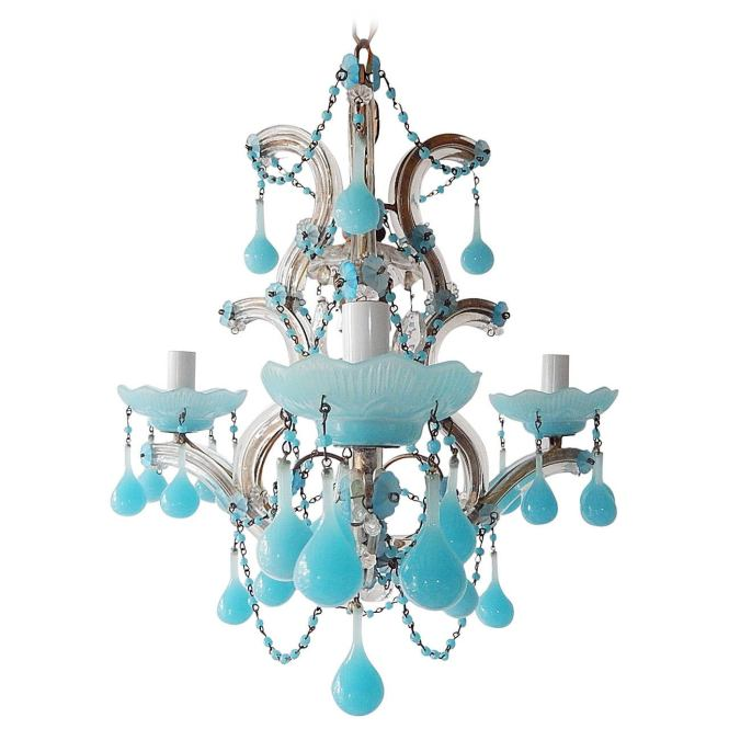 French Aqua Opaline Beaded Swags Chandelier For
