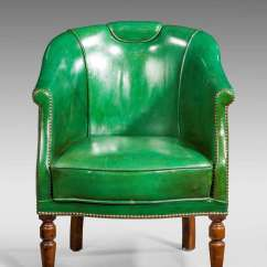 Antique Mahogany Office Chair White Accent With Ottoman 19th Century Green Leather At 1stdibs