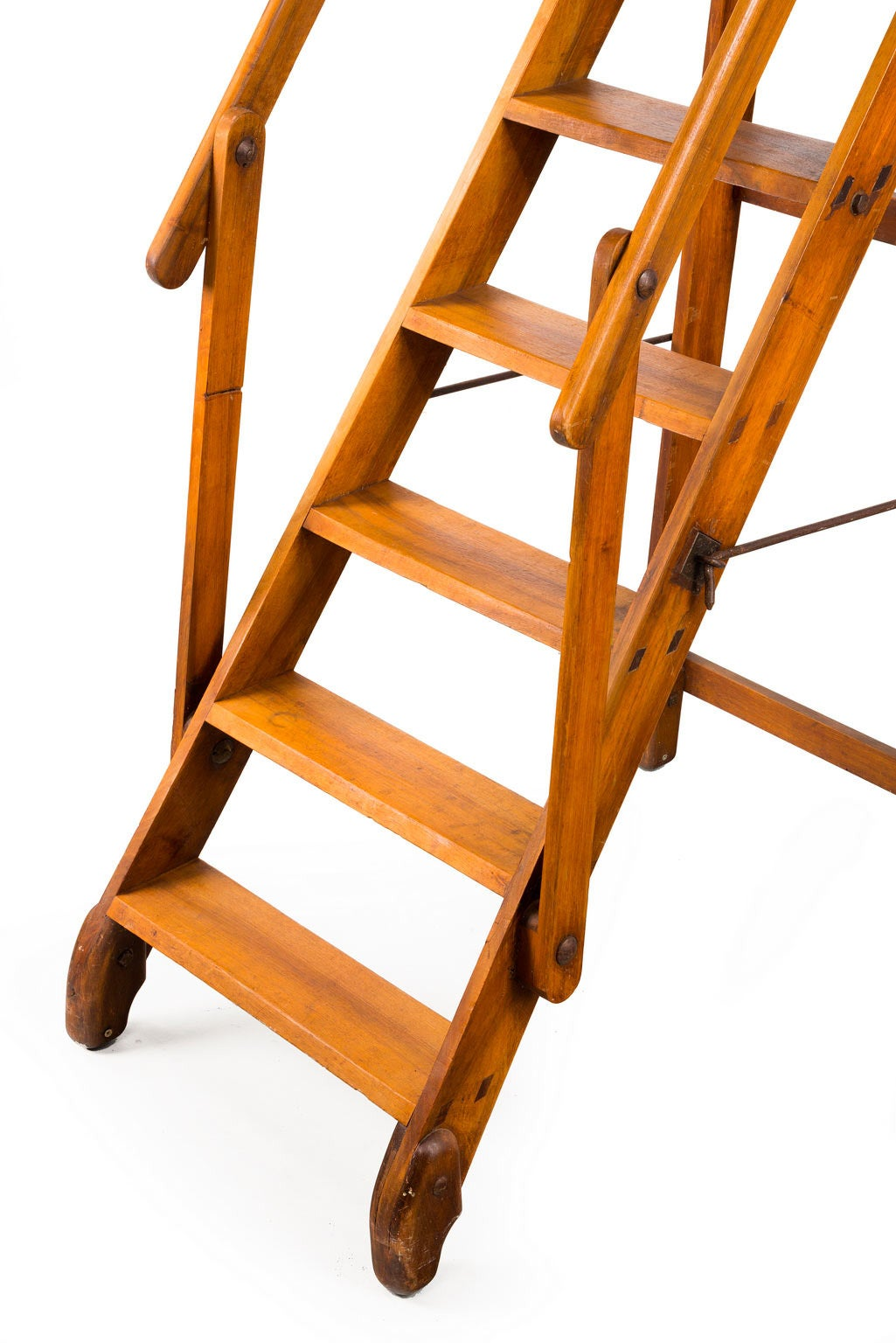 Library Ladder Chair Early 20th Century Walnut Folding Library Ladder At 1stdibs