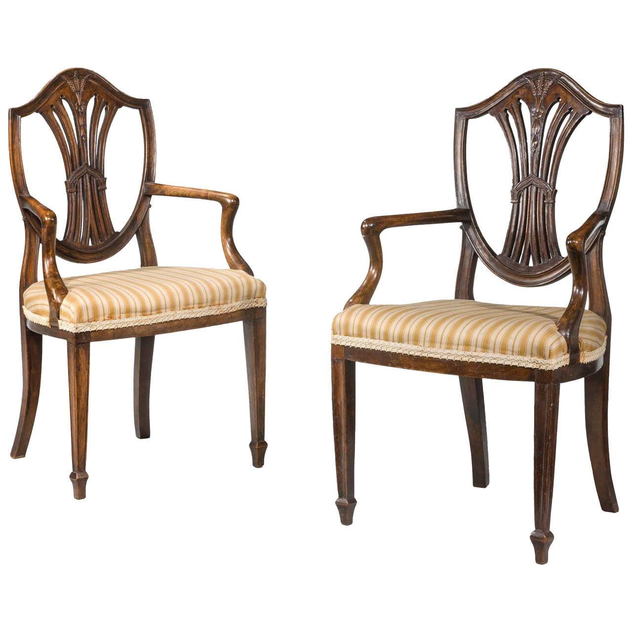 19th Century Pair of Childrens Chairs of Hepplewhite