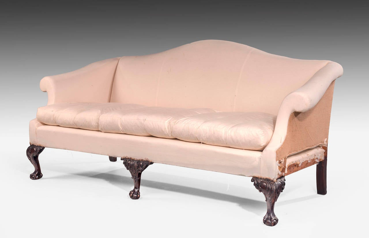 how much fabric to recover a camelback sofa grey chaise sleeper chippendale style mahogany framed camel back at 1stdibs