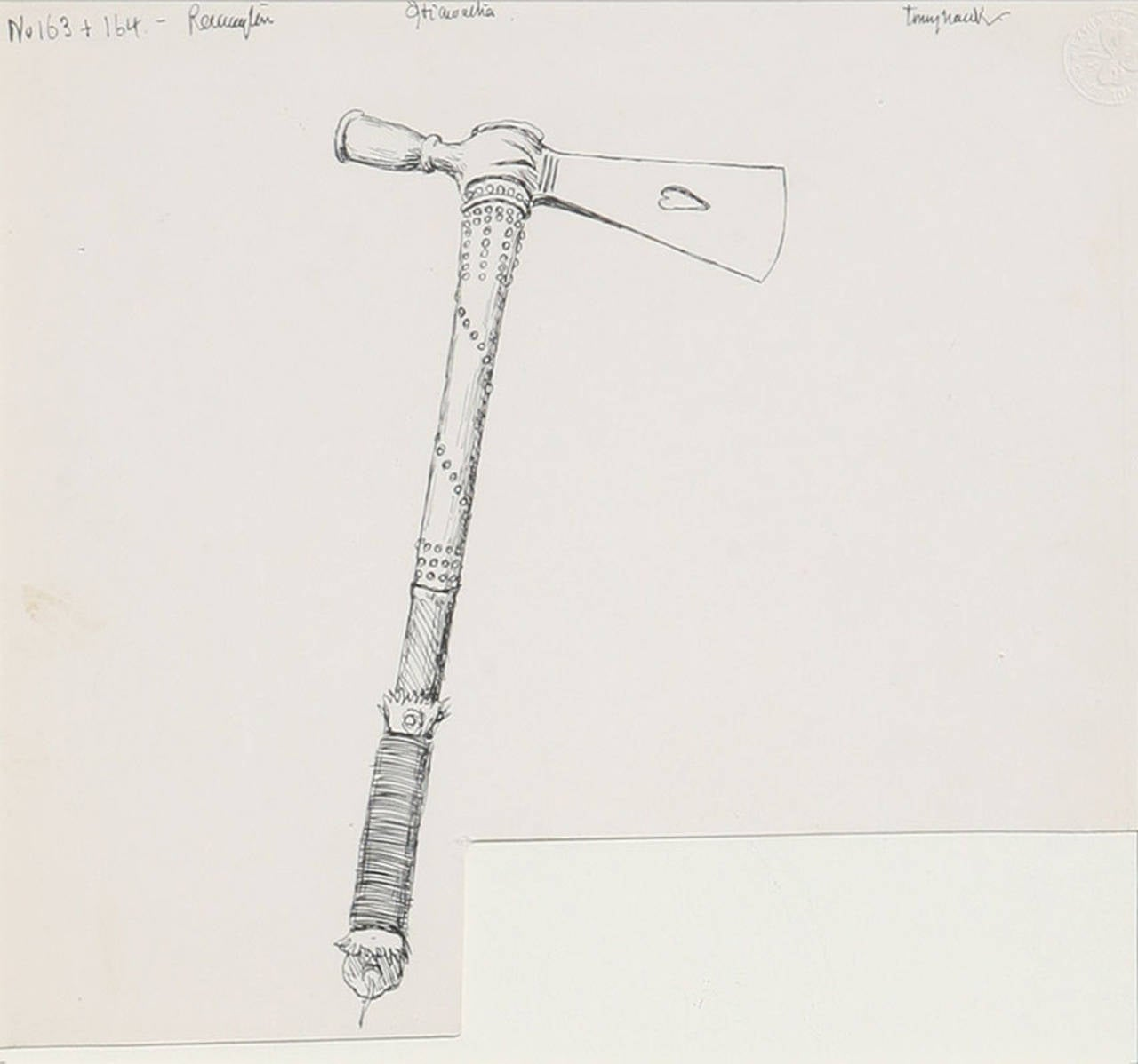 Original Drawing for Henry Wadsworth, Hiawatha Tomahawk