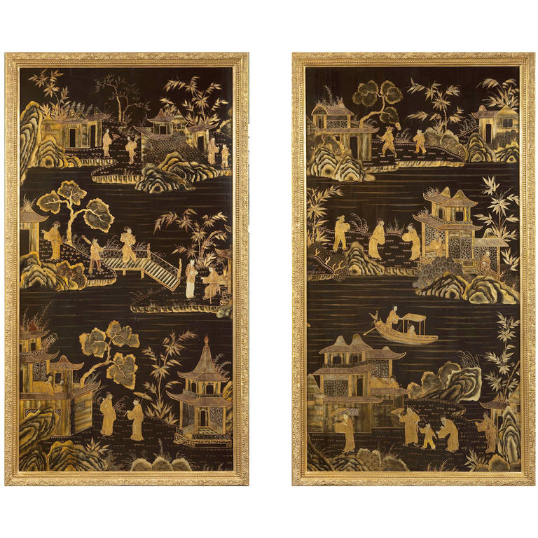 Pair of Black Lacquer and Gilt Panels at 1stdibs