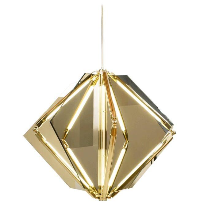 Echo 1 Led Light Pendant Chandelier Mirror Brass