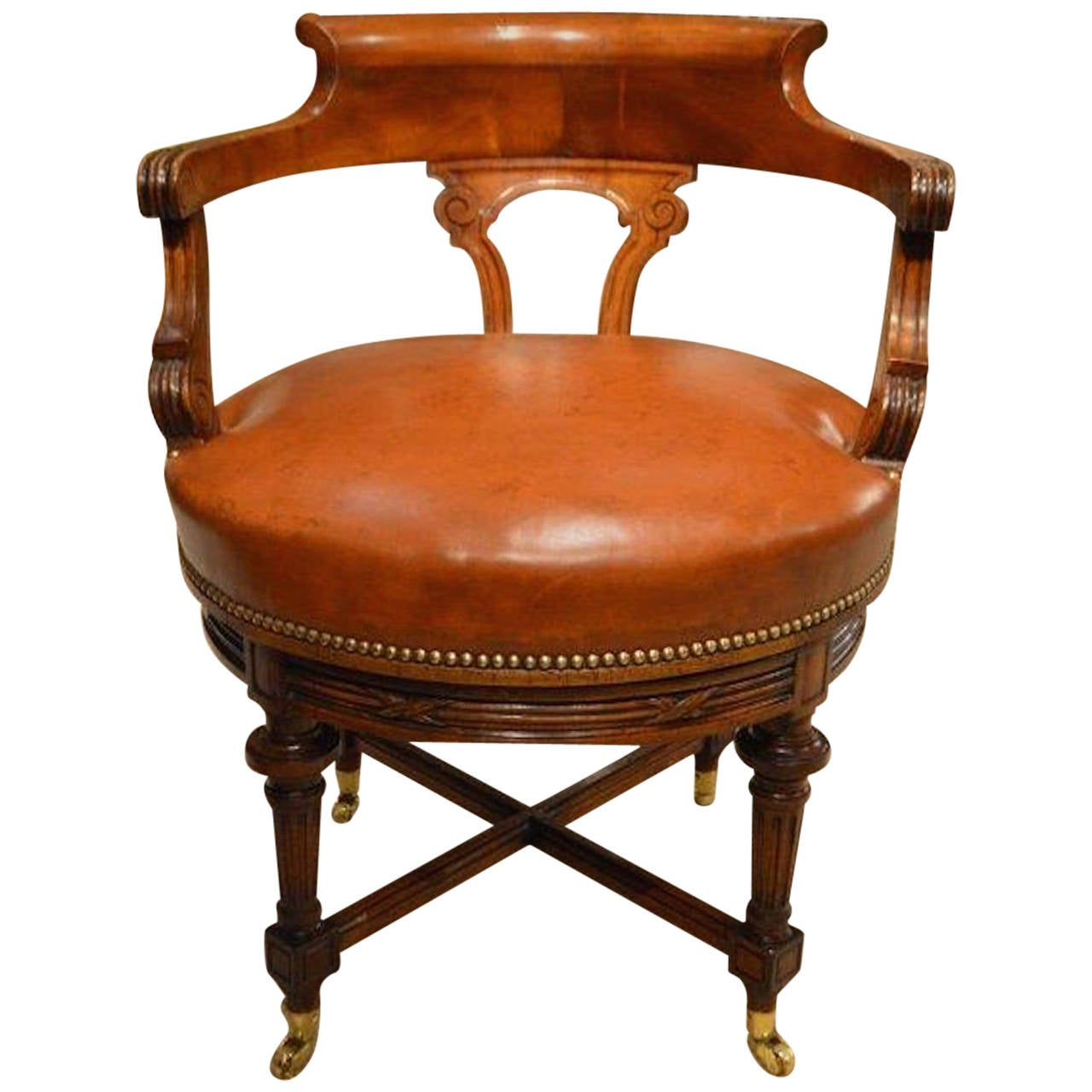 revolving desk chair online buy walnut and leather late victorian period antique