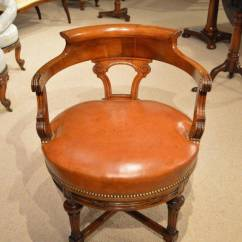 Revolving Desk Chair Art Deco Chairs Walnut And Leather Late Victorian Period Antique