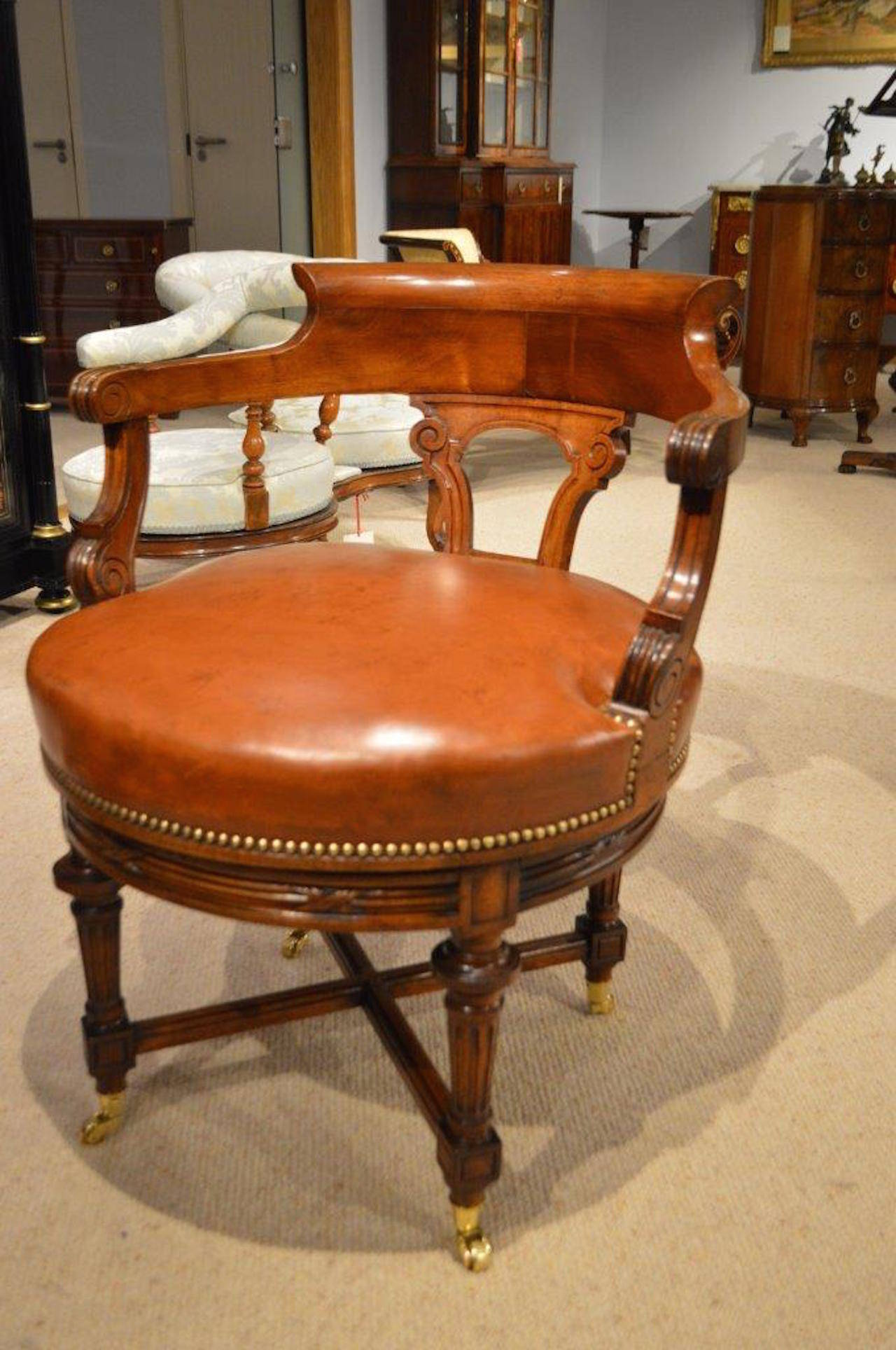revolving desk chair ostrich beach chairs review walnut and leather late victorian period antique