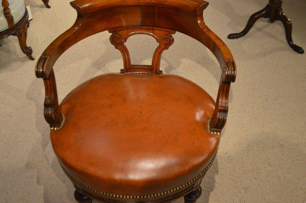 revolving desk chair baby trend high walnut and leather late victorian period antique