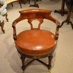 Revolving Desk Chair Massage Austin Walnut And Leather Late Victorian Period Antique