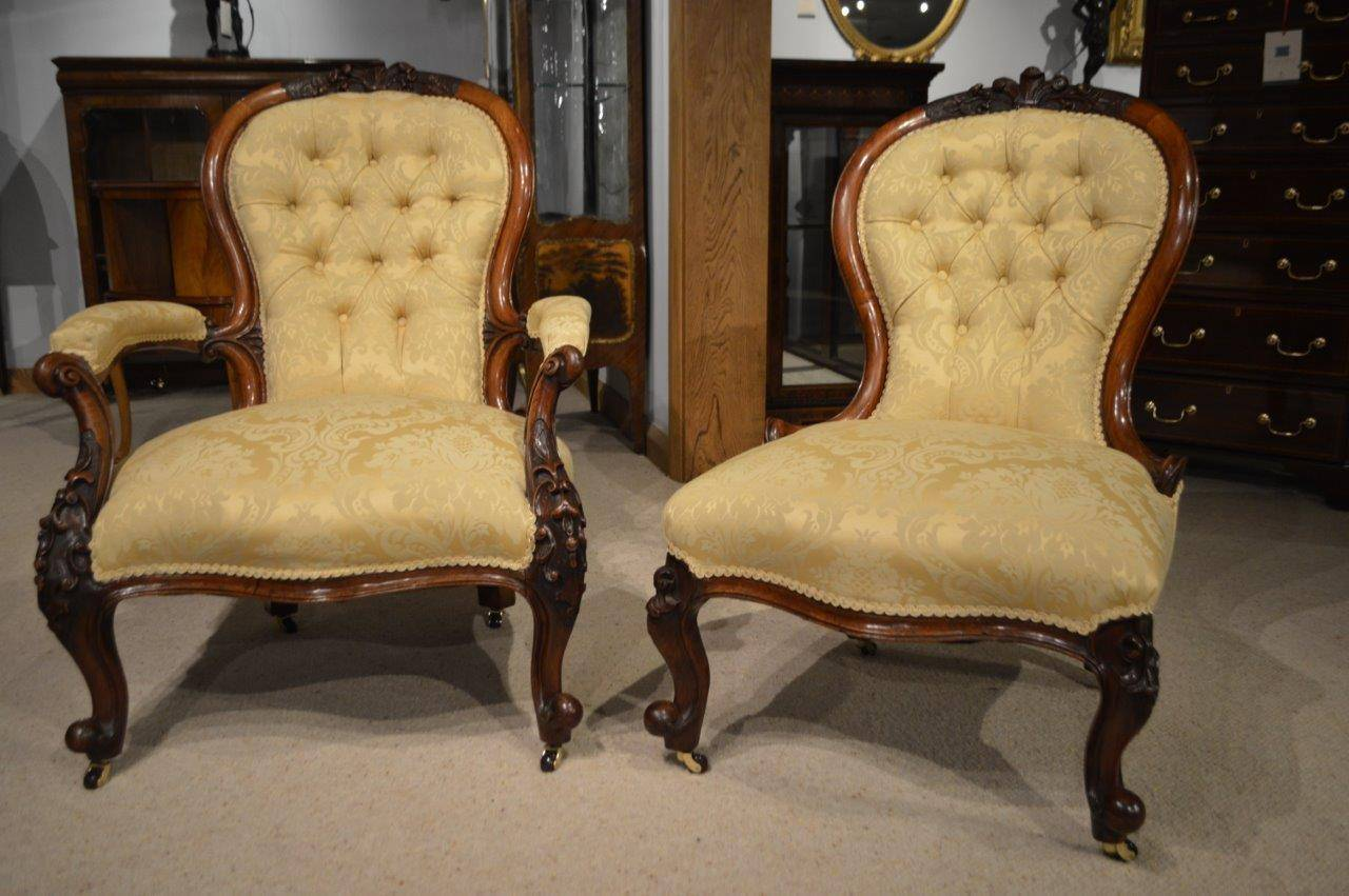 Vintage Chairs Pair Of Walnut Victorian Period Antique Chairs At 1stdibs