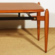 1950s Coffee Table Solid Teak With Ebony Strips Iron