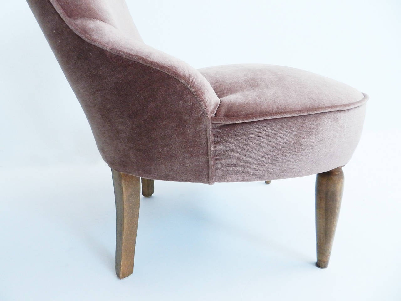 Small Arm Chairs Small Room Armchairs New Cover In Dust Rose Velvet At 1stdibs