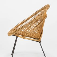 Bamboo Rattan Chair Sleep Recliner French Wicker Attributed To Janine Abraham And Dirk