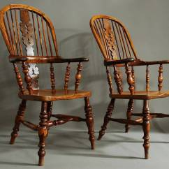 Windsor Back Chairs For Sale Antique Platform Rocking Chair With Springs Pair Of Broad Arm Burr Yew Wood High