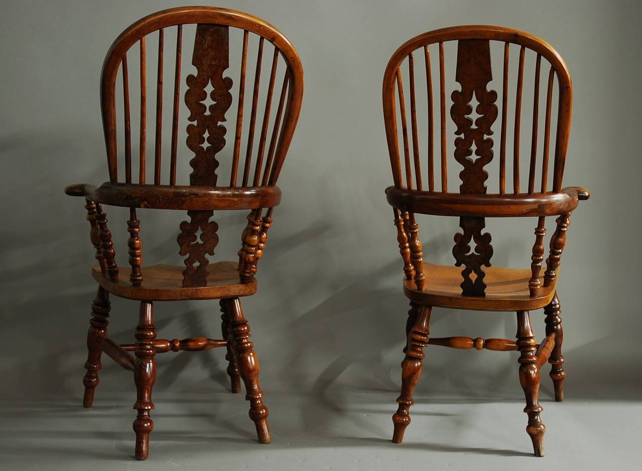 windsor back chairs for sale chair covers weddings pinterest pair of broad arm burr yew wood high