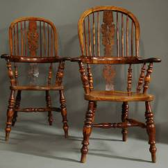 Wood High Chair For Sale Ergonomic Malta Pair Of Broad Arm Burr Yew Back Windsor Chairs