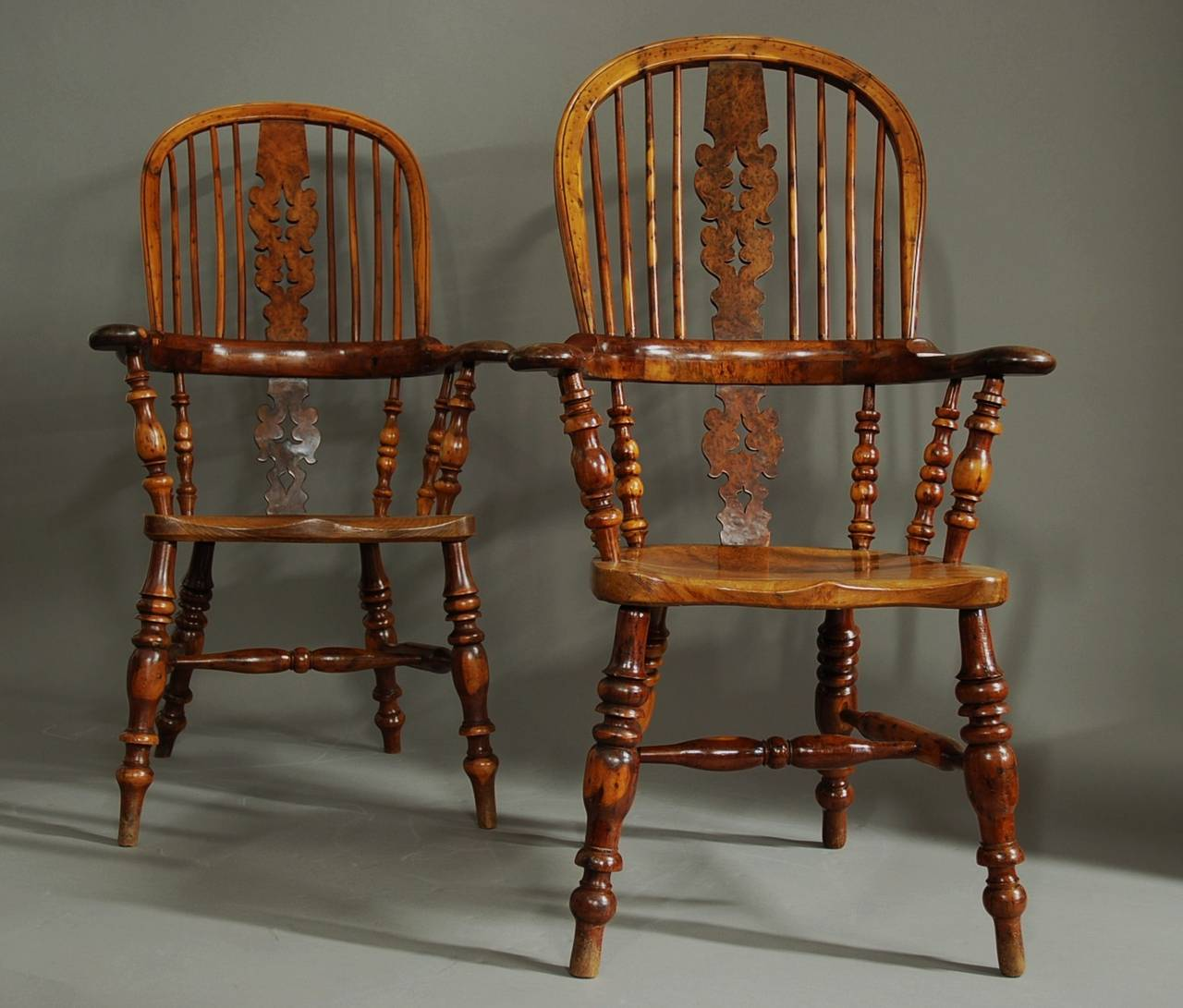 windsor back chairs for sale vinyl lawn chair webbing replacement pair of broad arm burr yew wood high