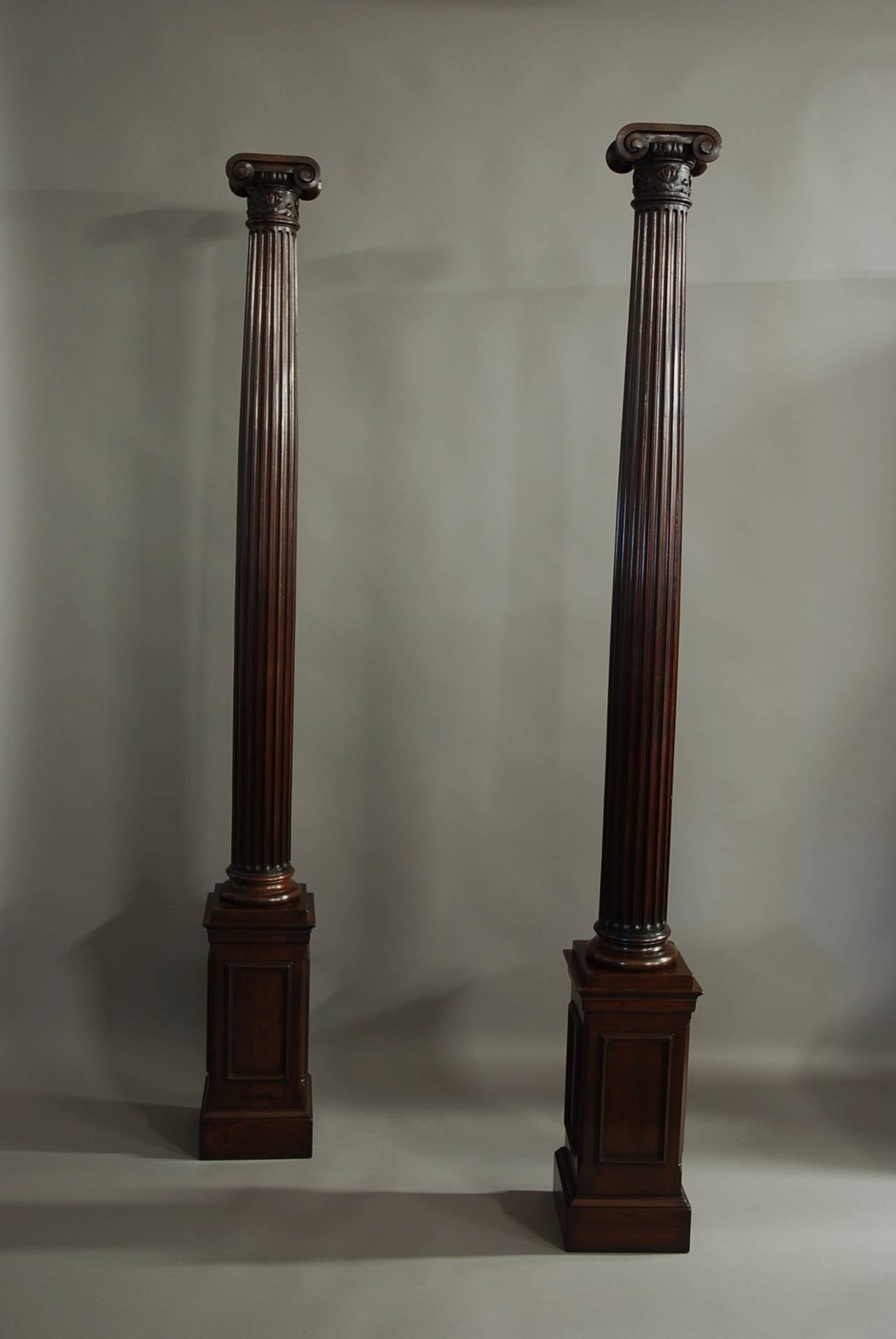 Pair Of Decorative Walnut Ionic Columns At 1stdibs