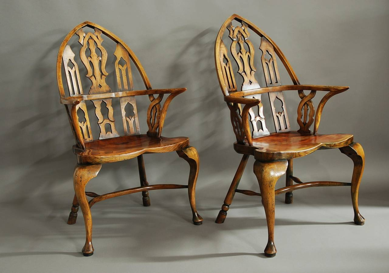 Windsor Style Chairs Large Pair Of Gothic Style Windsor Armchairs At 1stdibs
