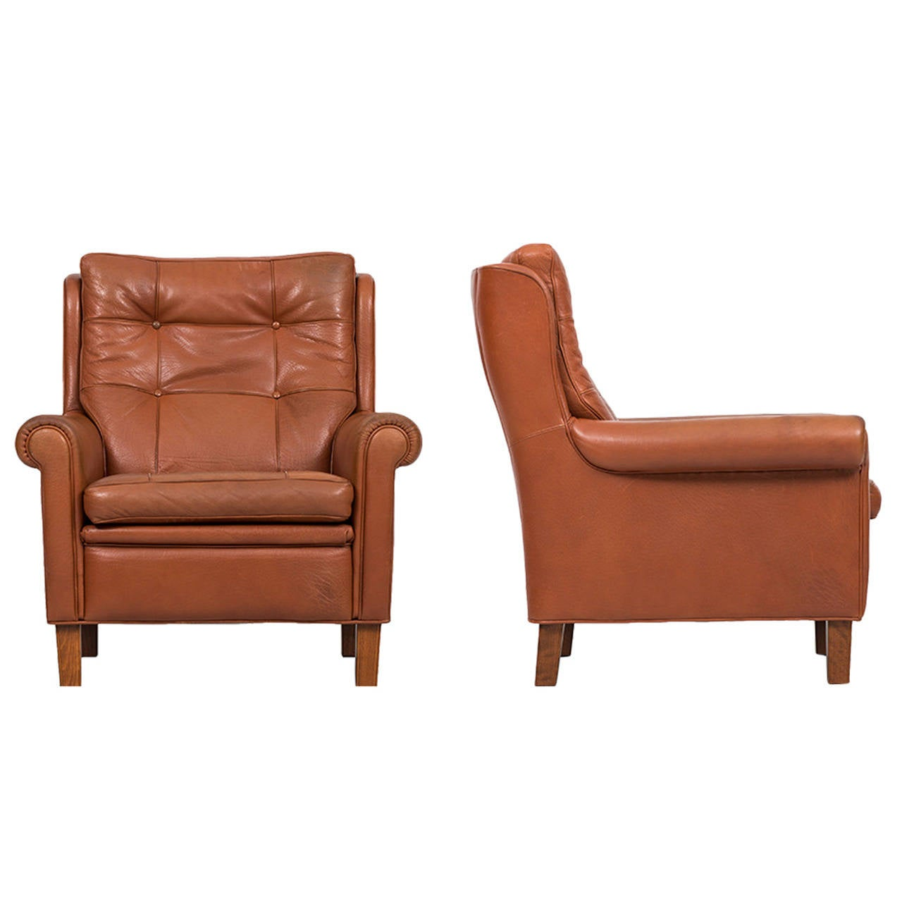 buffalo leather chair plastic outdoor stacking chairs arne norell easy in brown for sale