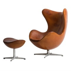 Jacobsen Egg Chair Leather Ergonomic With Ottoman Arne In Original Cognac Brown
