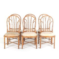 Bamboo Dining Chair Chaise Lounge Cover Towel Style Chairs Set Of Six At 1stdibs