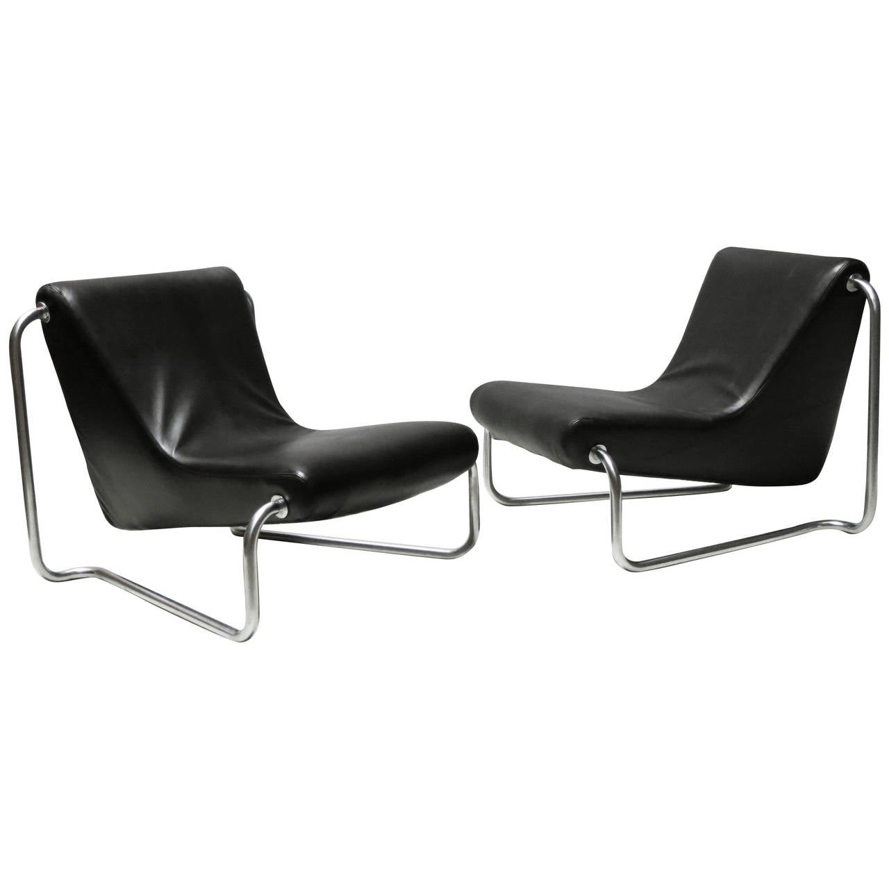 steel lounge chair stainless hsn code pair of leather and 1970s chairs by luigi
