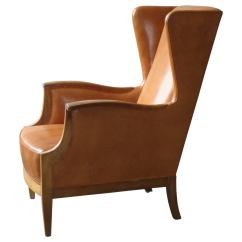 Country Style Wingback Chairs Revolving Chair Daraz 1930s In Nigerian Leather And Oak By Frits