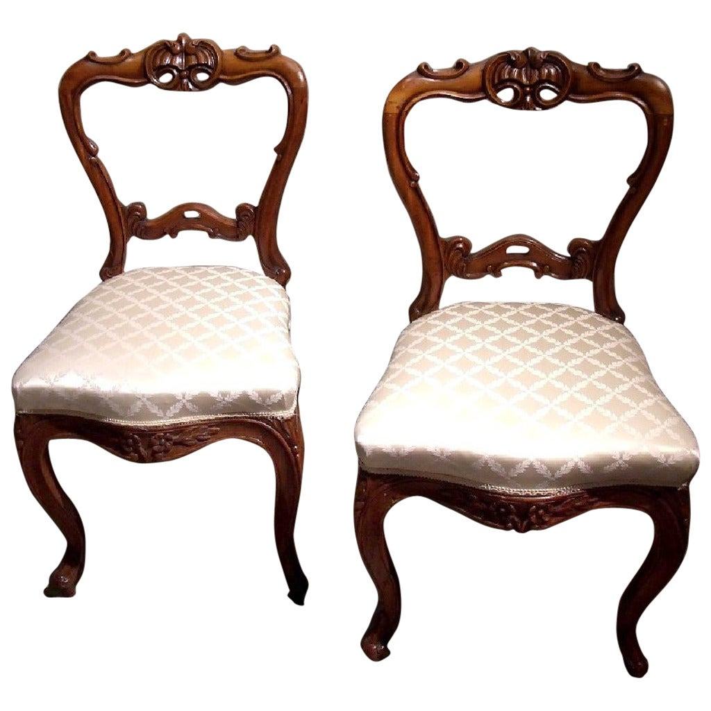 Balloon Chair For Sale Pair Of 19th Century Carved Satinwood Balloon Back Chairs