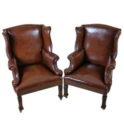 Arm Chairs Office Star Dorado Chair Pair Of Leather Wing Armchairs At 1stdibs
