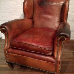 Bernhardt Brown Leather Club Chair Folding Used Pair Of Victorian Gentlemen's Chairs At 1stdibs