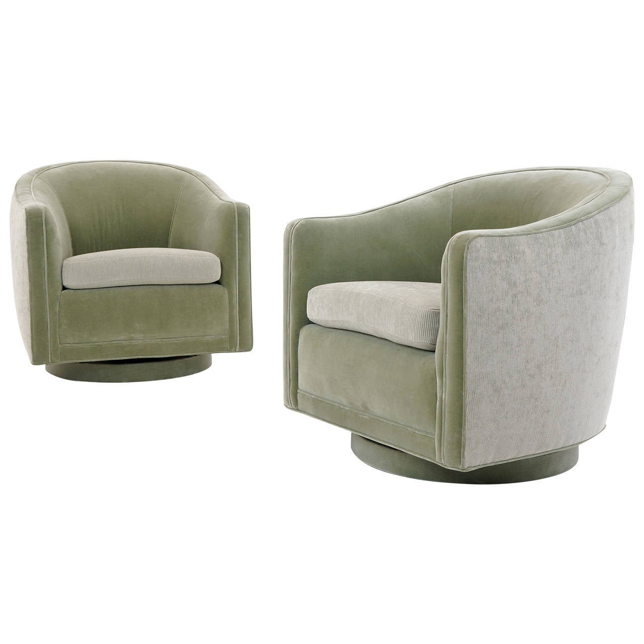 swivel lounge chairs 2 chair table set for bedroom pair of barrel back by edward wormley