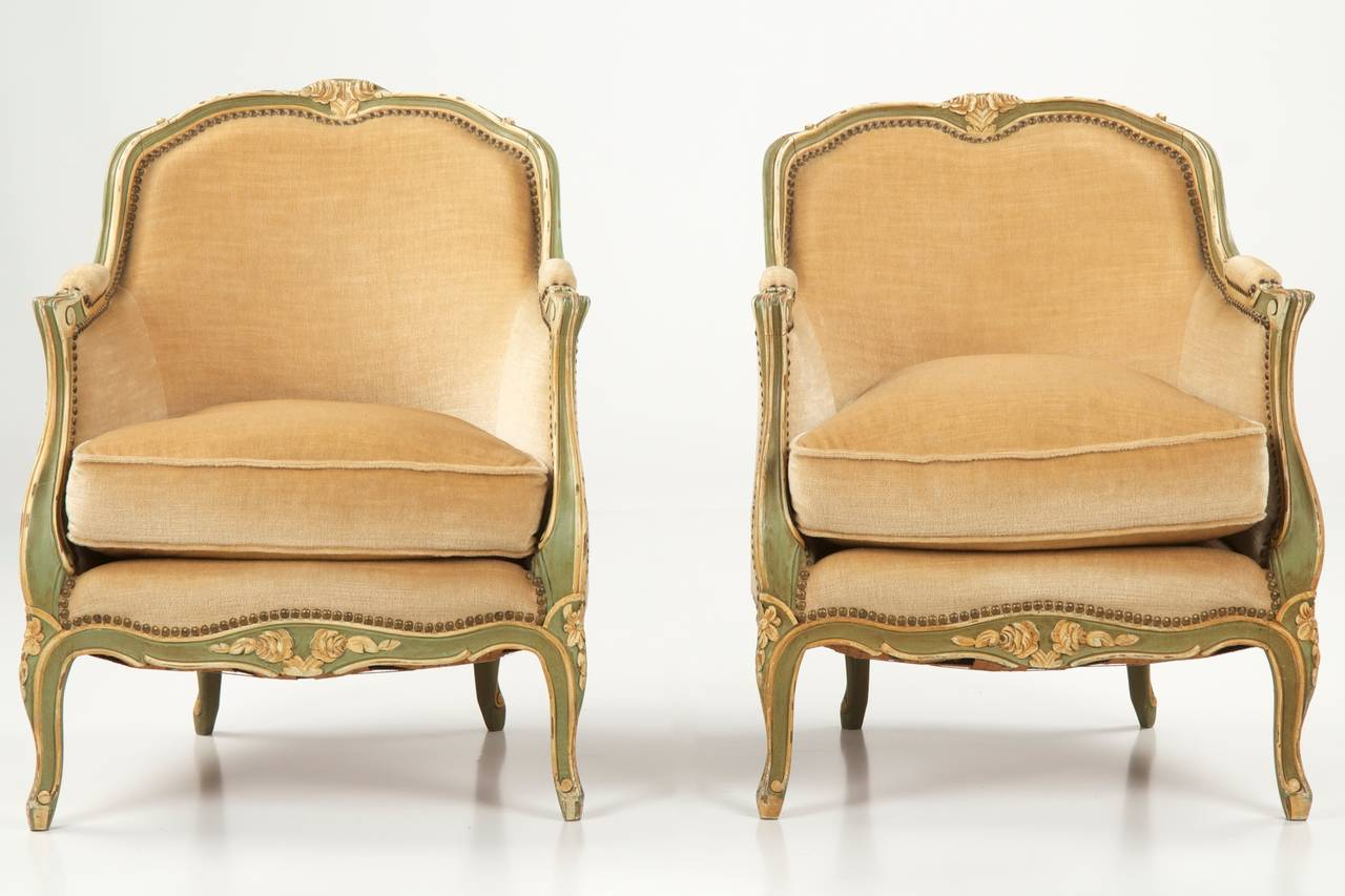 french bergere chair electric blanket for office pair of louis xv style painted arm chairs