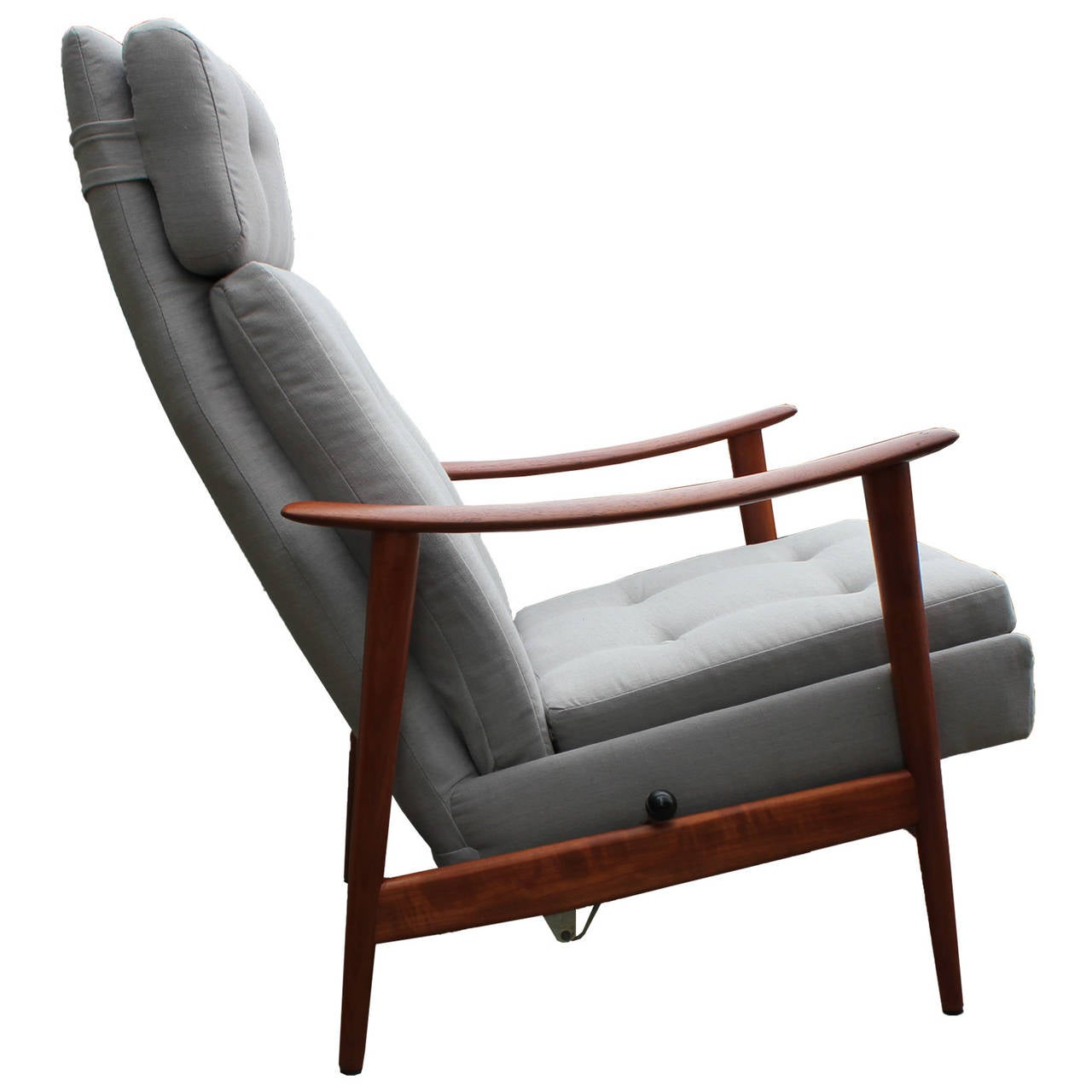 swedish leather recliner chairs french country restored scandinavian teak in grey linen at 1stdibs