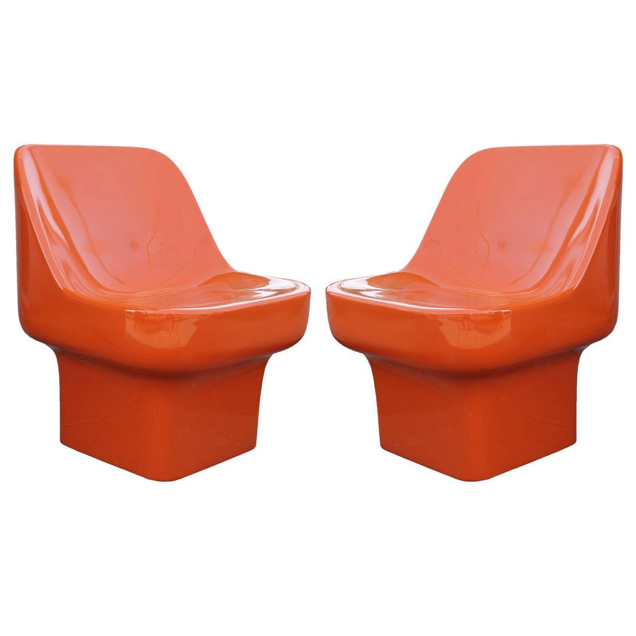 Douglas Deeds Glossy Orange Lacquered Fiberglass Chairs at